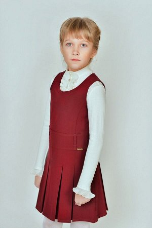 Бордовый школьный сарафан, модель 0208