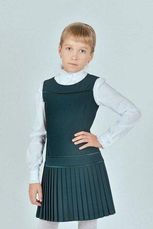Зеленый школьный сарафан, модель 0203