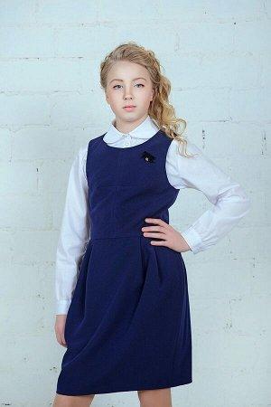 Синий сарафан школьный, модель 0219