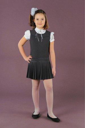 Серый школьный сарафан, модель 0203