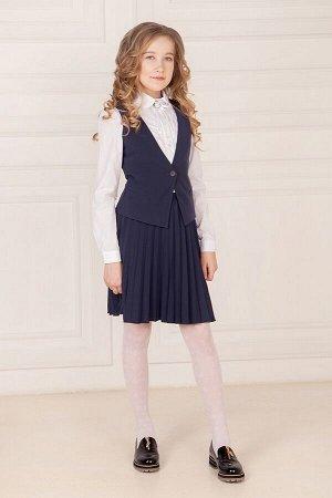 Синий школьный жилет для девочки, модель 1101
