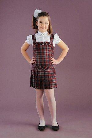 Бордовый школьный сарафан, модель 0201