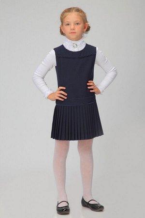 Синий школьный сарафан, модель 0203