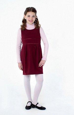 Бордовый школьный сарафан, модель 0209