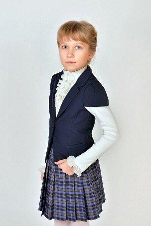 Синий школьный жилет для девочки, модель 1104