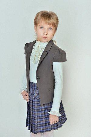 Серый школьный жилет для девочки, модель 1104