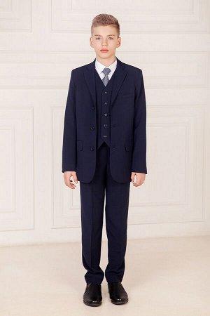 Синие школьные брюки для мальчика, модель 0913