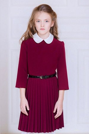 Бордовое школьное платье, модель 0146
