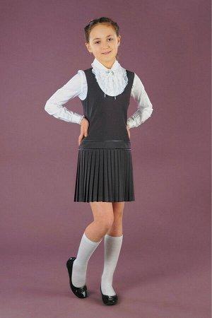 Серый школьный сарафан, модель 0202