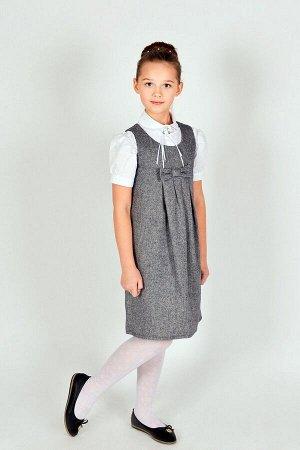 Серый школьный сарафан, модель 0210