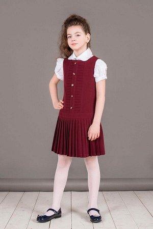 Бордовый школьный сарафан, модель 0225