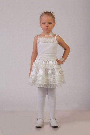 Нарядная молочная юбка для девочки, модель 0304