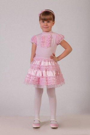 Нарядная розовая юбка для девочки, модель 0304