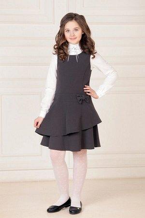 Серый школьный сарафан, модель 0207