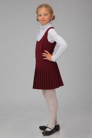 Бордовый школьный сарафан, модель 0202