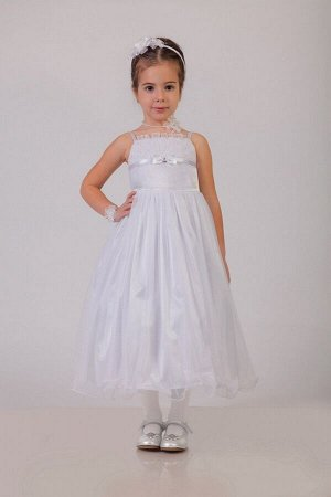 Нарядное белое платье для девочки, модель 0106