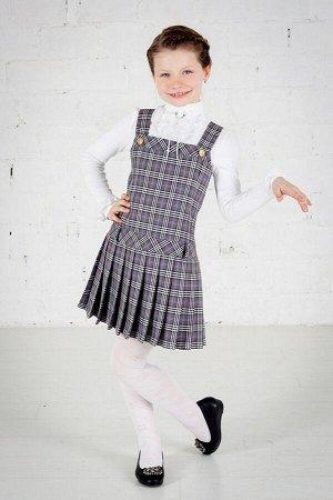 Серый школьный сарафан, модель 0201