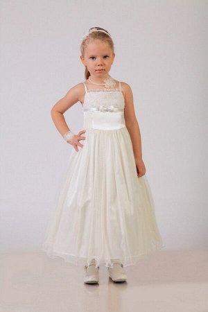 Нарядное молочное платье для девочки, модель 0106