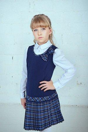 Синий школьный сарафан, модель 0213