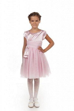 Нарядное розовое платье для девочки, модель 0113