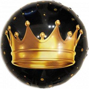 Шар Ф 18'' Круг Золотая корона, черный 46 см /К
