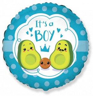 Шар Ф 18'' Круг рис. С рождением мальчика! Семья авокадо, голубой 46 см/FM