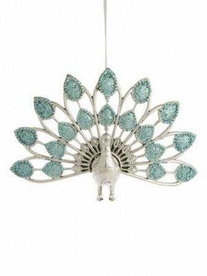 Новогоднее подвесное украшение Павлин в голубом, 14x8