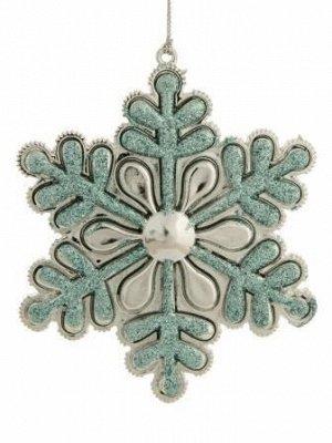 Новогоднее подвесное украшение Снежинка в голубом