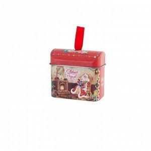 Новогоднее подвесное елочное украшение Сундучок с новогодним пожеланием внутри