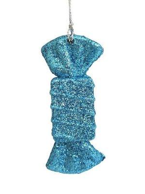 Новогоднее подвесное елочное украшение Конфета голубая, 9x3