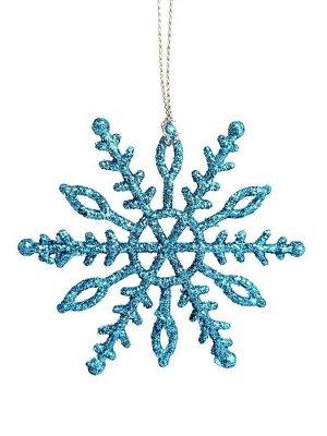 Новогоднее подвесное елочное украшение Снежинка в голубом, 7x7