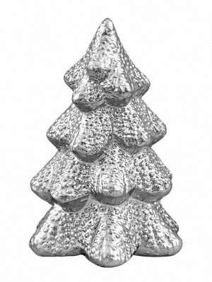 Новогодняя фигурка Серебряная заснеженная елочка 8х8х11