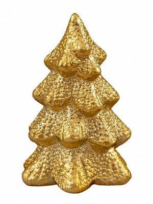 Новогодняя фигурка Золотая заснеженная елочка 8х8х11