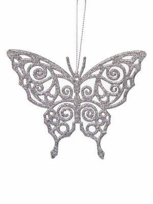 Новогоднее подвесное елочное украшение Бабочка серебряная 11x8,5x0
