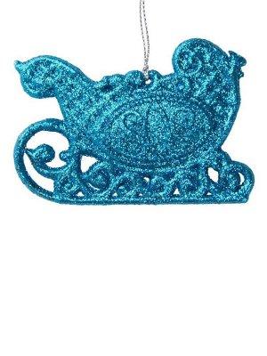 Новогоднее подвесное елочное украшение Голубые сани 10х7