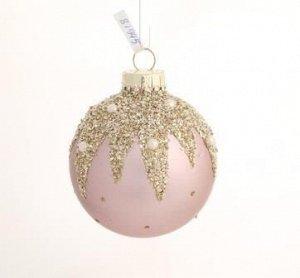 Новогоднее подвесное украшение - шар Розовый сияние, 8x8x8