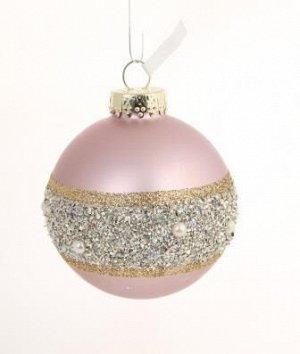 Новогоднее подвесное украшение - шар Розовый мерцание, 8x8x8