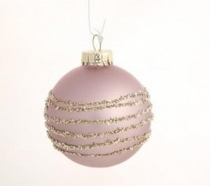 Новогоднее подвесное украшение - шар Розовый линии, 8x8x8