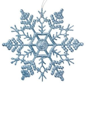 Новогоднее подвесное елочное украшение Снежинка-паутинка голубая 16,5*16
