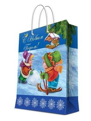 НГ Бумажный пакет Зимние забавы XS, 17,8*22,9*9