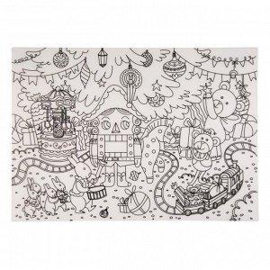 Развивающий настольный защитный коврик-раскраска Щелкунчик из полипропилена, 29,7x42