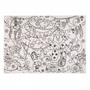 Развивающий настольный защитный коврик-раскраска Зверушки на празднике, 29,7x42