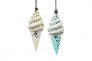 Новогоднее подвесное украшение Мороженое серебро и голубой, набор 2 шт.