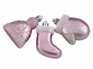 Новогоднее подвесное украшение Зимний набор в розовом: набор из 3 шт.