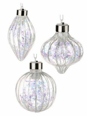 Новогоднее светящееся  подвесное украшение Серебряное мерцание (в ассортименте), 9x7x7