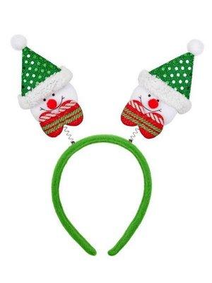 Новогоднее украшение на голову Зеленый Снеговик, 28x24x1