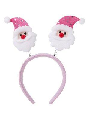 Новогоднее украшение на голову Дед Мороз в розовом колпаке, 22x24