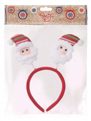 Новогоднее украшение на голову Дед Мороз в полосатом колпаке, 22x26