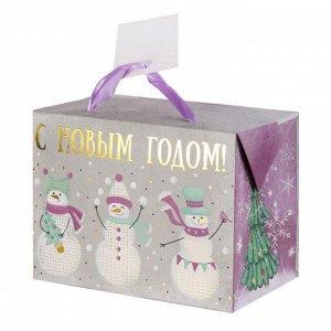 Бумажный пакет 3 снеговика