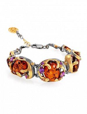Роскошный браслет из янтаря коньячного цвета в золочённом серебре «Помпадур», 812610090